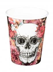 6 Bicchieri in cartone teschio con fiori 250 ml