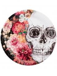 6 Piatti in cartone Scheletro con fiori 23 cm