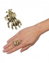 Anello in metallo con artigli e teschio per adulto