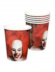 6 bicchieri di carta con clown terrificante 25 cl