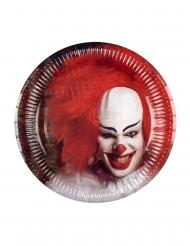 6 Piatti in cartone Clown Terrificante 23 cm