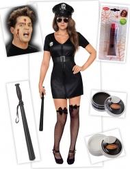 Set costume ufficiale di polizia zombie donna