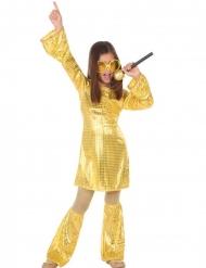 Costume disco dorato con gambali da bambina