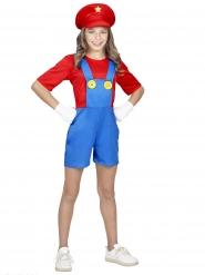 Costume da super idraulico in pantaloncini per bambina
