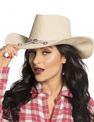 Cappello da cowboy beige per adulto