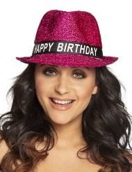 Cappello Happy Birthday con brillantini per adulto