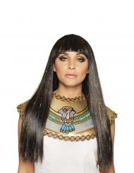 Parrucca egiziana lunga nera e dorata dea del nilo per donna