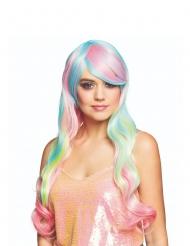 Parrucca lunga arcobaleno pastello donna