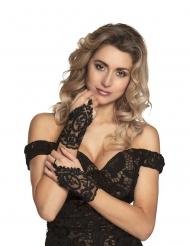 Mezzi guanti in pizzo nero per donna