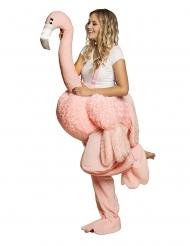 Costume donna sulle spalle di un fenicottero rosa per adulto