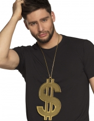 Collana dollaro dorata 24 cm adulto