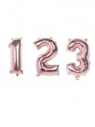 Palloncino in alluminio rosa con numero