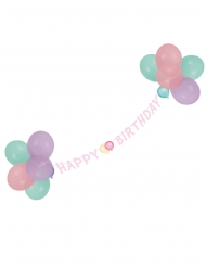 Ghirlanda con palloncini Happy Birthday pastello