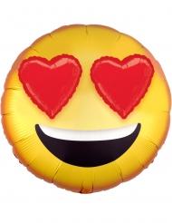 Palloncino alluminio emoticon occhi a cuore 43 cm