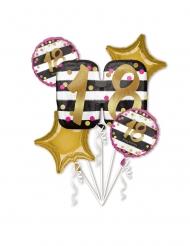 5 palloncini in alluminio 18 anni rosa e oro