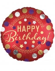 Palloncino alluminio Happy Birthday rosso satinato 43 cm