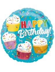 Palloncino alluminio Happy Birthday cupcakes 43 cm
