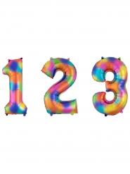 Palloncino in alluminio arcobaleno con numero