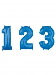 Palloncino in alluminio azzurro con numero