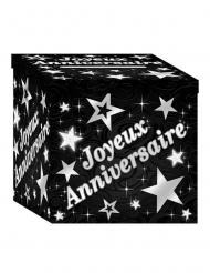 Urna in cartone nero e argento per compleanno