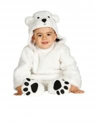 Costume tuta con cappuccio orso bianco bebè
