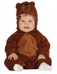 Costume tutina con cappuccio orso bruno neonato