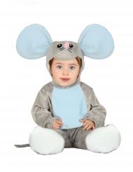 Costume tutina con cappuccio topino grigio neonato