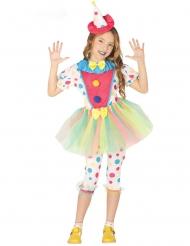 Costume clown a pois pastello con tutu per bambina