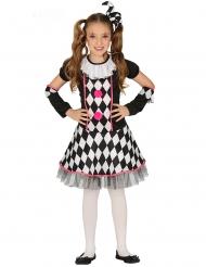 Costume da giullare nero e rosa per bambina