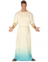 Costume da dio greco bianco e azzurro per uomo