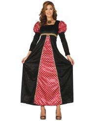 Costume da dama medievale nero e rosso per donna