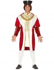 Costume da Re medievale rosso e oro per uomo