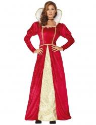 Costume da dama medievale rosso e oro per donna