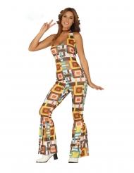 Costume Tuta disco con motivi geometrici per donna