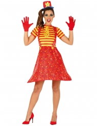 Costume da clown multicolore divertente per donna
