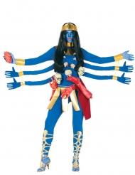 Costume da dea indú blu 6 braccia donna