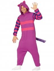 Costume tuta gatto a strisce viola e rosa adulto