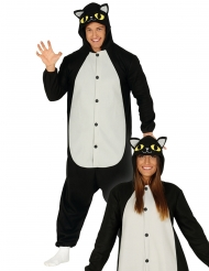 Costume tuta gatto nero adulto