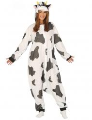 Costume tuta mucca nera e bianca adulto