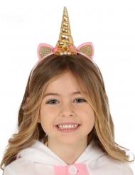 Cerchietto da unicorno rosa e dorato per bambina