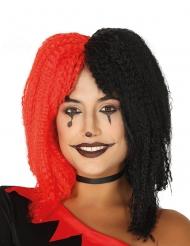 Parrucca frisé da giullare rossa e nera per donna