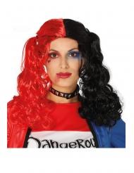 Parrucca con codini nera e rossa per donna