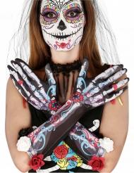 Guanti da scheletro dia de los muertos con fiori per adulto
