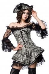 Costume corsetto argentato da pirata sexy per donna