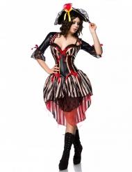 Costume pirata con corsetto rosso sexy donna