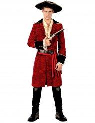 Costume da pirata chic rosso e nero per uomo