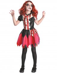 Costume clown insanguinato rosso e nero per bambina