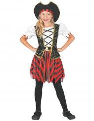 Costume pirata rosso e nero bambina