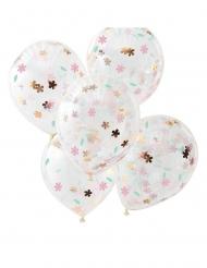 5 Palloncini in lattice trasparente con fiori pastello 30 cm