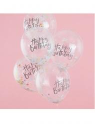 5 palloncini trasparenti Happy Birthday